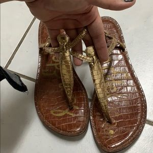 Gold Sam Edelman t strap sandals